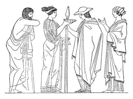 vase: Chlamys rectangular (after of a painted vase), vintage engraved illustration.
