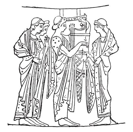 lyre: Lyre player, vintage engraved illustration.