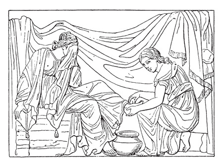 rinse: Toilet of the bride, vintage engraved illustration. Illustration