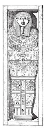 Mummy cartonnage, vintage engraved illustration.