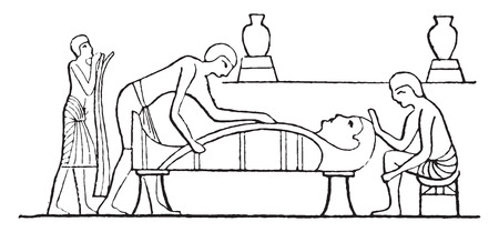 Making the mummy, vintage engraved illustration. 向量圖像