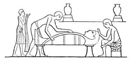 mummy: Making the mummy, vintage engraved illustration. Illustration