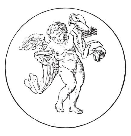 genio de la lampara: Copero Genie, ilustraci�n de la vendimia grabado.