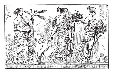 artwork: The present, vintage engraved illustration.
