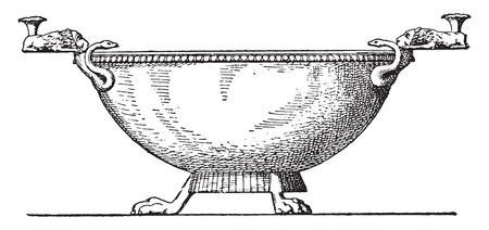antique vase: Bronze vase, vintage engraved illustration. Illustration