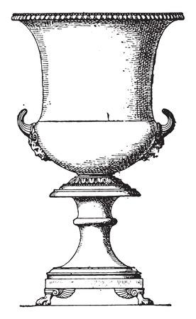 vasi greci: Crater in bronzo, vintage illustrazione inciso. Vettoriali