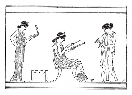 burning: Greek women (On a vessel after burning), vintage engraved illustration. Illustration