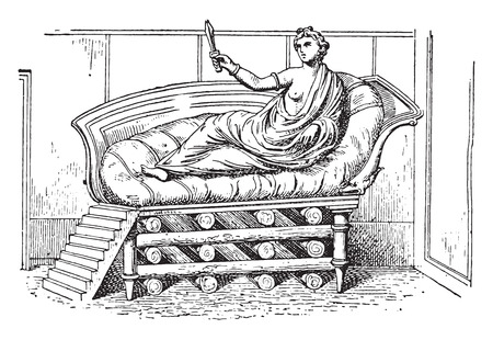 woman lying in bed: The bed of Dido, vintage engraved illustration.