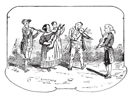An orchestra in the Venetian countryside, vintage engraved illustration.
