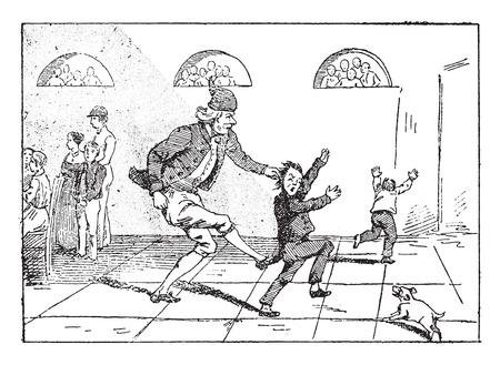 The progenitor gives chase to his grand-son, vintage engraved illustration.