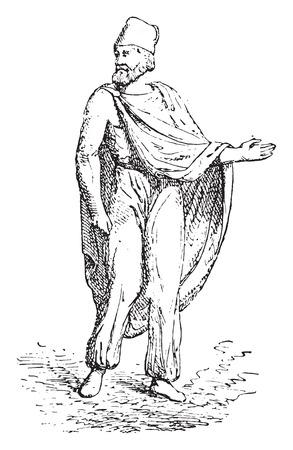 archaeological: Traje de Dacian, ilustraci�n de la vendimia grabado.