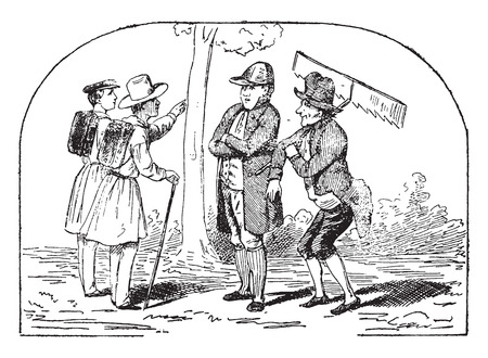 sir: Which, sir, to take?, vintage engraved illustration.