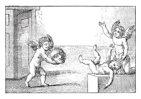 mischief: Games for children, vintage engraved illustration. Illustration