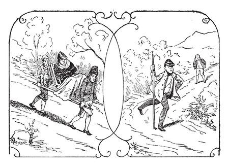 furious: A tourist litter, A furious tourist, vintage engraved illustration.