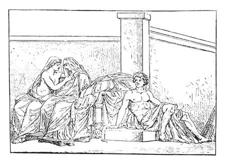 marriage bed: Aldobrandini Wedding, vintage engraved illustration.