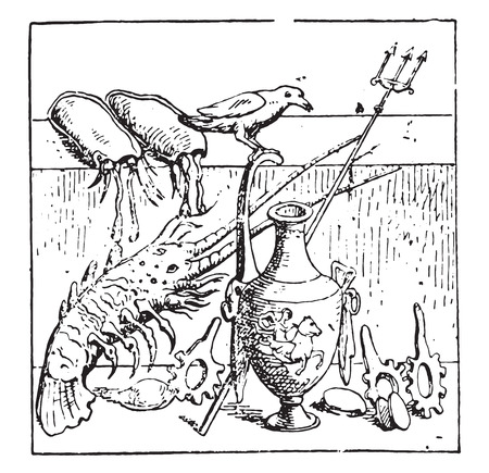 Dry, lobsters and shellfish, vintage engraved illustration.