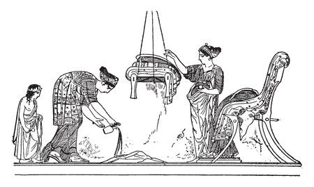 harem: Stage gynaeceum, vintage engraved illustration. Illustration