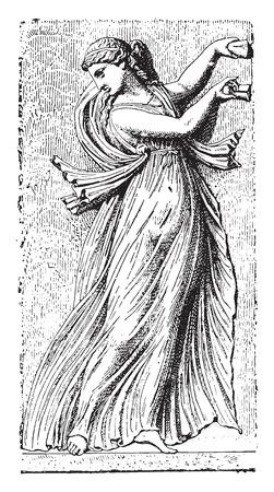transparent dress: Transparent dress, (borghese vase dancer), vintage engraved illustration.