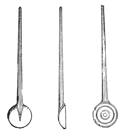 Tablespoons jam, vintage engraved illustration.