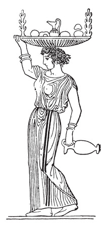 Woman carrying a tray, vintage engraved illustration.
