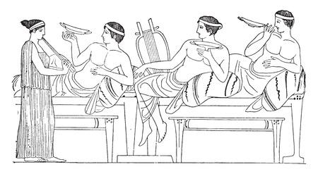 A banquet in Greece, vintage engraved illustration.