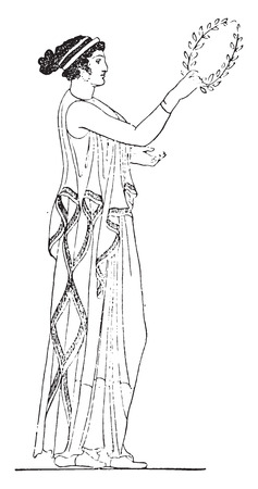 ancient greece: Woman wearing a peplos, vintage engraved illustration.