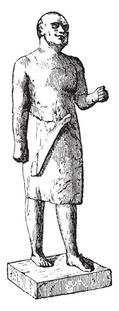 the former: Egyptian statue of the former empire, vintage engraved illustration. Illustration