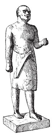 archaeological: Estatua egipcia del antiguo imperio, ilustraci�n de la vendimia grabado.
