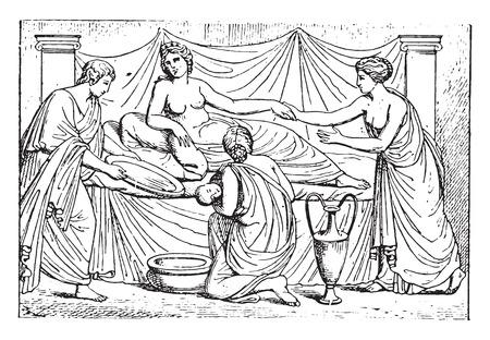 mujer acostada en cama: Cosecha ilustraci�n grabada del Reci�n Nacido,. Vectores
