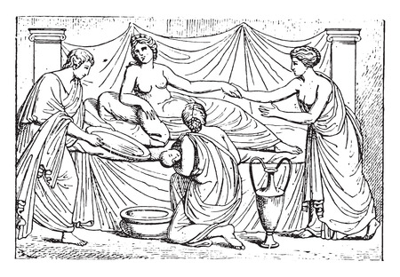 woman lying in bed: Newborn, vintage engraved illustration.