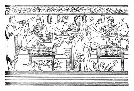Il pranzo, dopo una pittura etrusca, vintage illustrazione inciso.