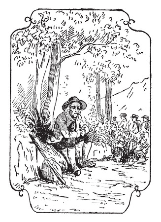 contemplation: The philosopher peasant, vintage engraved illustration.