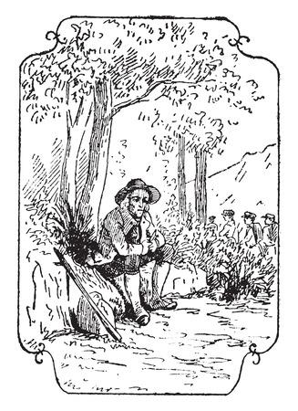 peasant: The philosopher peasant, vintage engraved illustration.