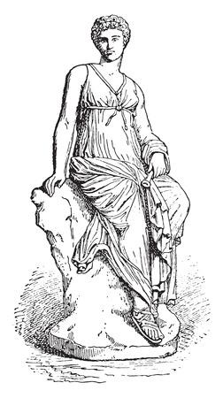 muse: Euterpe, vintage engraved illustration.