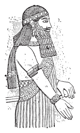 Assyrian, vintage engraved illustration.