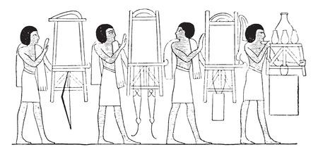キャビネット、棚、短剣、弓、ヴィンテージには図が刻まれています。