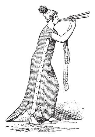 flute: Flute player, vintage engraved illustration.