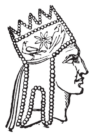 armenia: Tigranes, king of Armenia, vintage engraved illustration.