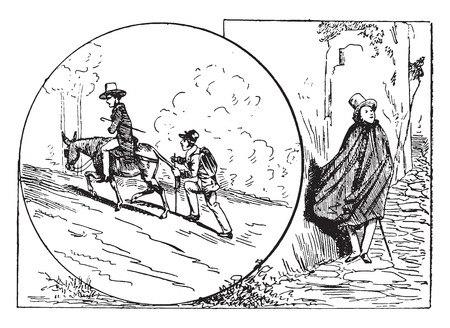 The raincoat tourist and the tourist-straps, vintage engraved illustration.