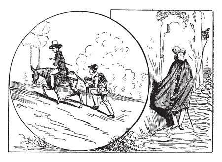 raincoat: The raincoat tourist and the tourist-straps, vintage engraved illustration.