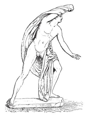 desnudo masculino: Hijo de Niobe, ilustración de la vendimia grabado.