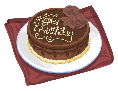Vector illustration of birthday cake. Vettoriali