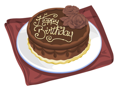 Vector illustration of birthday cake. Illustration