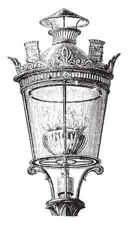 gas nozzle: Lantern with intensive gas nozzle for lighting the streets of Paris in 1878, vintage engraved illustration. Industrial encyclopedia E.-O. Lami - 1875.