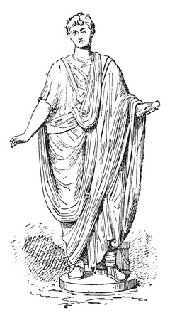 archaeological: Toga romana, ilustraci�n de la vendimia grabado. Vectores