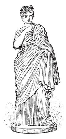 archaeological: Mujer joven romana, ilustraci�n de la vendimia grabado. Vectores