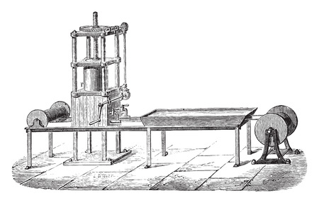 industrial machine: Press machine, vintage engraved illustration. Industrial encyclopedia E.-O. Lami - 1875.