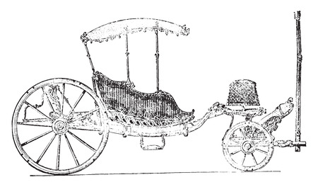 eighteenth: Carriage eighteenth century, vintage engraved illustration. Industrial encyclopedia E.-O. Lami - 1875.