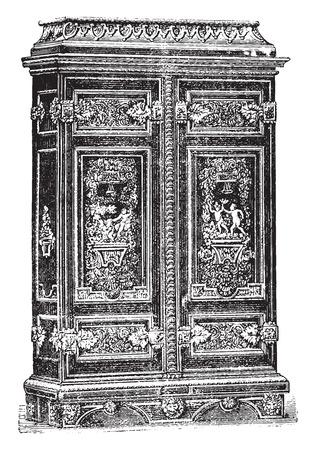 louis: Louis XIV cabinet style genre Ornament, vintage engraved illustration. Industrial encyclopedia E.-O. Lami - 1875. Illustration