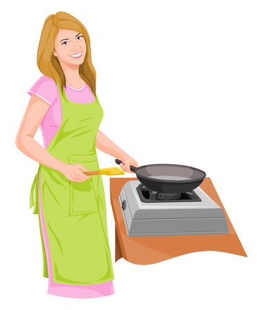 Vector illustration of housewife preparing food. 向量圖像